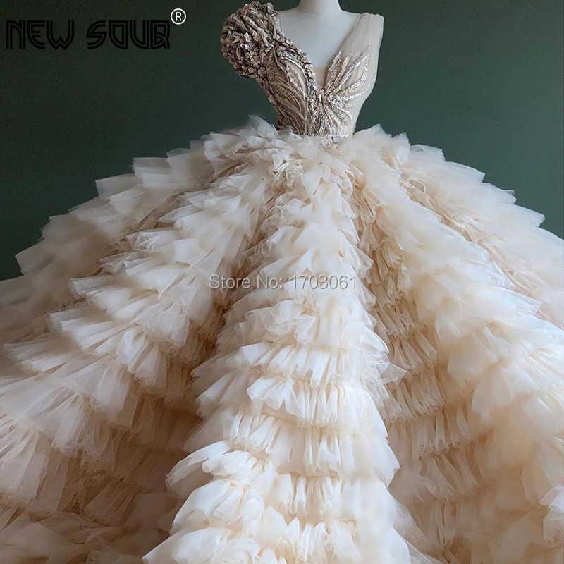 Chic Design Puffy Beige Ruffles Abiti Da Sera 2020 Aibye Dubai Fiore Appliques In Rilievo Vestito Da Partito del Vestito Da Promenade Robe De Soiree nuovo