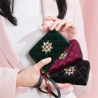 Women Wallets Crystal Velour Card Holder Luxury Green Black Coin Purse Handmade Party Fashion Small Handbag Mini Clutch Bags