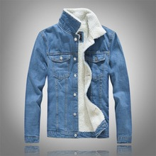 kurtka mujiski Winter Mens Plus velvet Cotton Denim Jacket M
