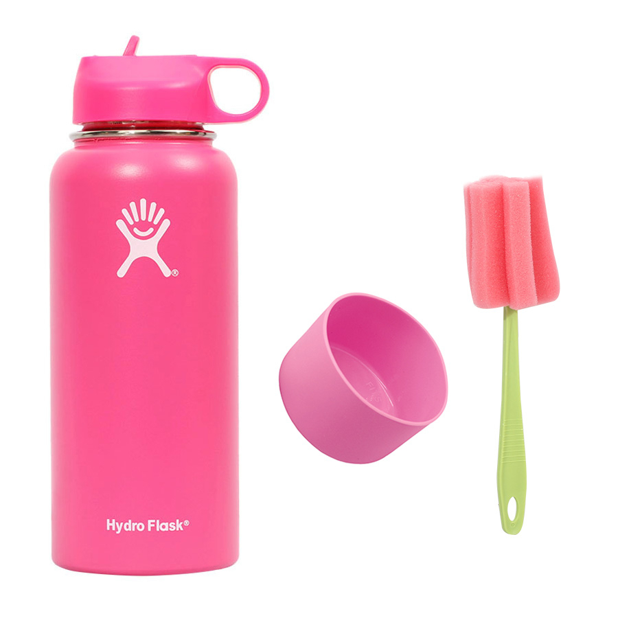 New Hydro Flask 18 OZ / 32 OZ Vacuum Thermos Stainless Steel Portable Bottled Water Colorful Straw Lid Kettle+Cup Set+Brush image