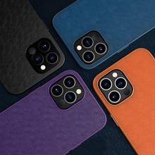 Vuông Sang Trọng Chống Sốc Dẻo Silicone Mềm PU Bao Da Điện Thoại Cho iPhone 12 11 Pro Max X XS XR Lưng fundas Coque