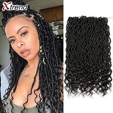 Xtrend, вязанные крючком волосы, синтетические косички, faux locs Curly Crotchet, волосы для наращивания, Meche DREAD, 18 дюймов, богиня, от 1 до 10 упаковок