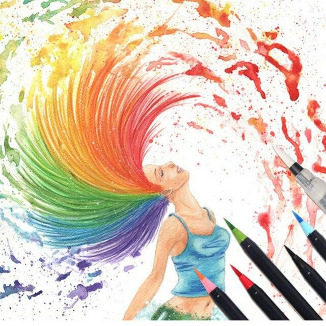 20PCS Colori Art Marker Acquerello Pennello Penne per la Scuola Forniture di Cancelleria Disegno Libri Da Colorare Manga Calligrafia 5