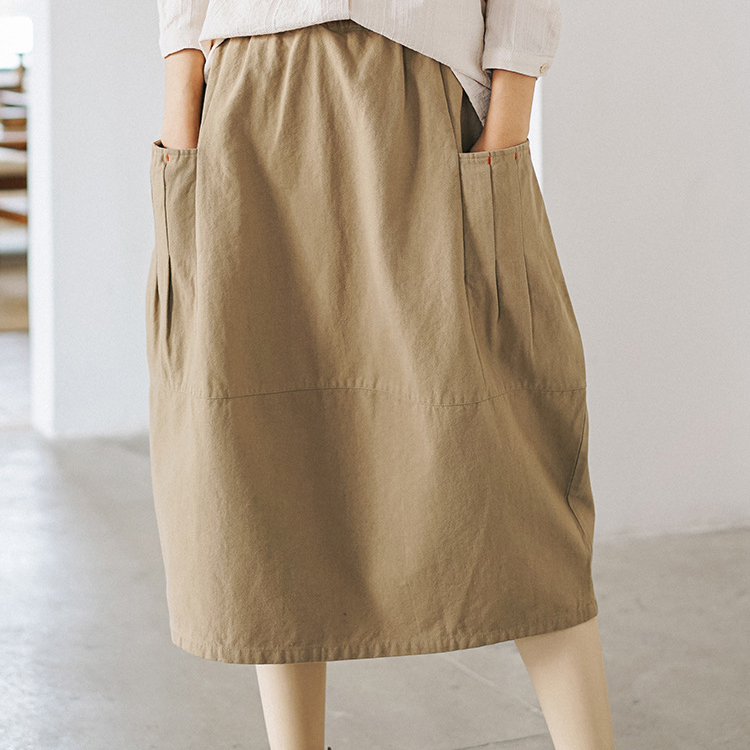 2020 New High Waist Women Summer Cotton Midi Length Skirt Saia Elastic Waist Women A-Line Skirt With Pocket Faldas Jupe Femme