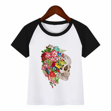 Boys and Girls Cartoon Skull Floral Diy Print T Shirt Baby Kids Funny Clothes Children Summer T-shirt floral and graphic print buttons henley t shirt