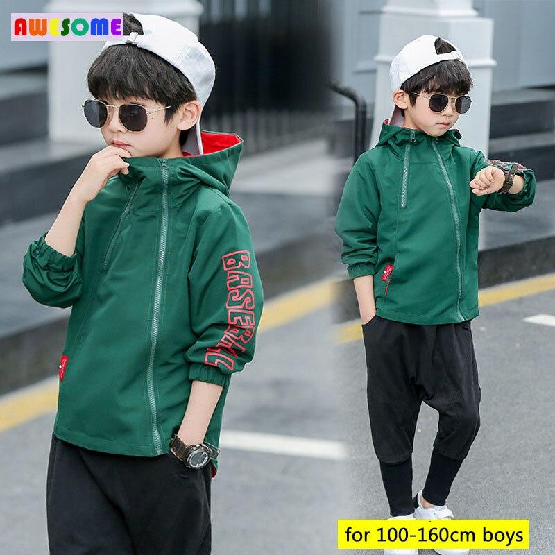 Teens Kids Casual Hoodie Jackets Spring 2020 Korean Style Boys Jackets Zipper Hoodies Windbreaker Tracksuit Streetwear 3-13 year