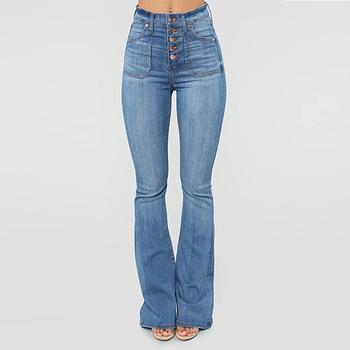Wysokiej talii dżinsy dla kobiet panie sprane dżinsy spodnie Streetwear Vintage Denim spodnie z guzikami dżinsy dla mamy Slim jeansy rozkloszowane tanie i dobre opinie SHUJIN Poliester Pełnej długości CN (pochodzenie) Osób w wieku 18-35 lat Women Jeans Na co dzień Zmiękczania Przycisk fly