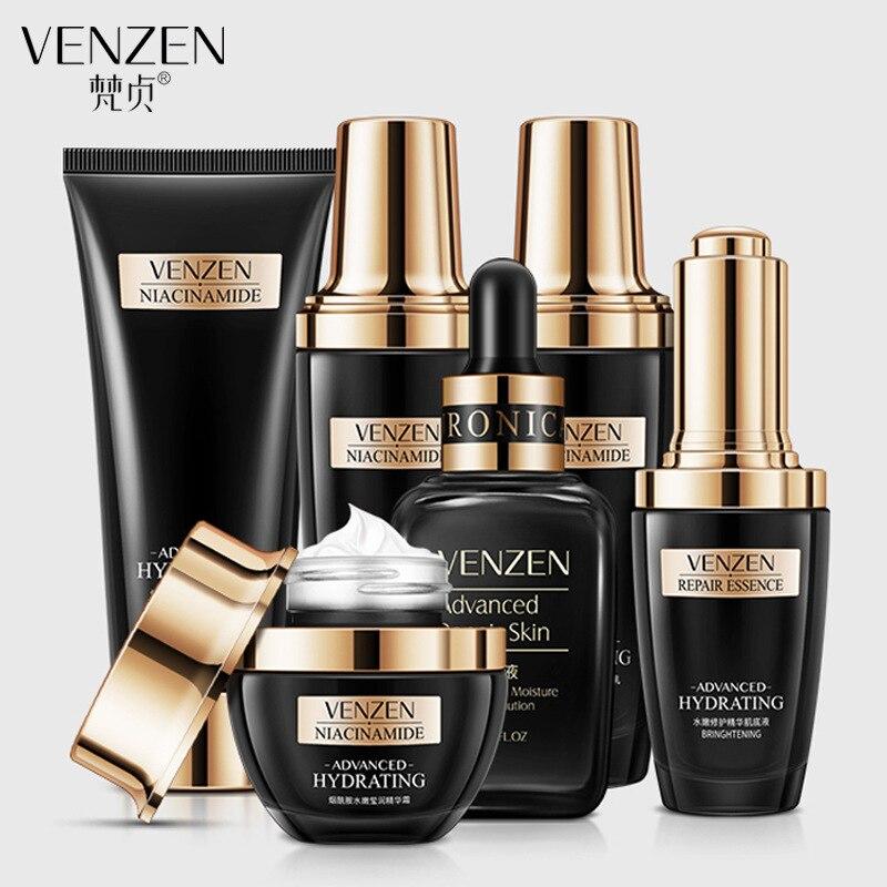 6PCS Niacinamide Skin Care Set Moisturizing Whitening Cleanser+Toner+Emulsion+Face Cream+Serum+Essence Liquid Facial Care Set