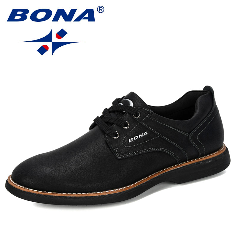 BONA 2020 New Designers Popular Casual Shoes Men Flat Shoes Lace-Up Low Top Sneakers Man Leisure Footwear Trendy Tenis Masculino