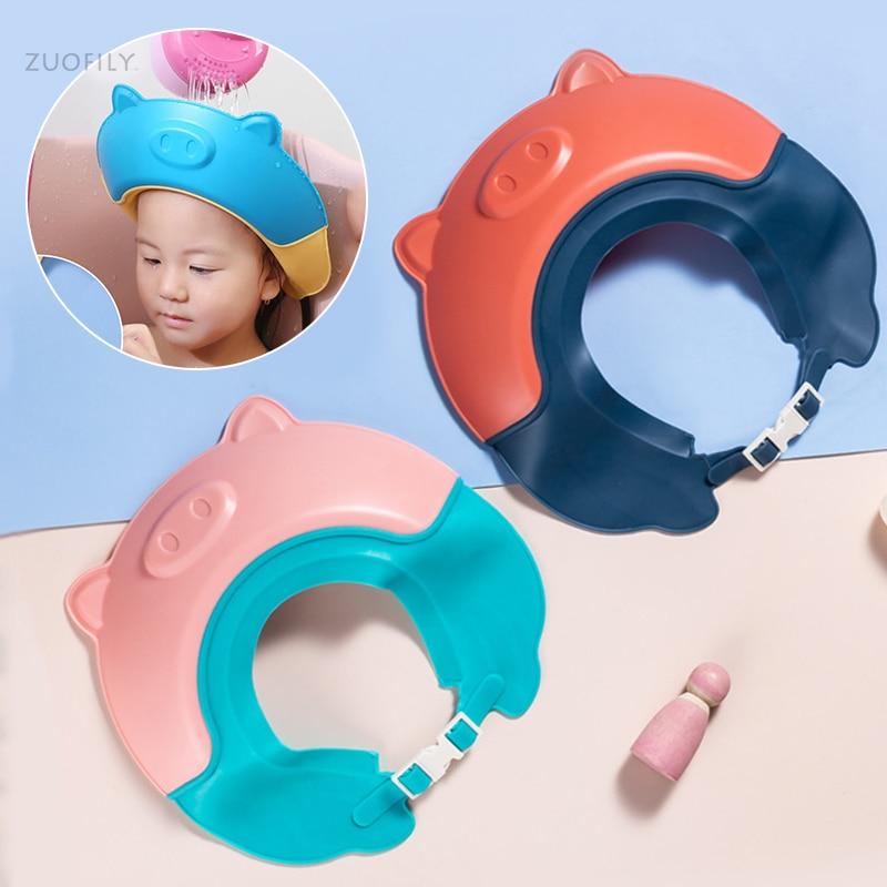 Kinder Shampoo Kappe Baby Weiche Cartoon Bad Visier Hut Einstellbar Baby Dusche Schützen Auge Wasser-proof Haar Schild Cap für Infant