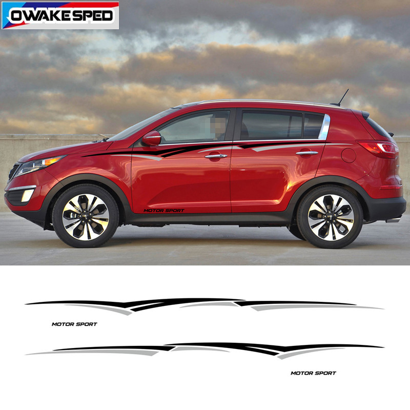 Image 2 - MOTOR SPORT Stripes For KIA SPORTAGE BORREGO Car Styling Waist Lines Sticker Auto Body Accessories Car Protection Vinyl Decal-in Car Stickers from Automobiles & Motorcycles