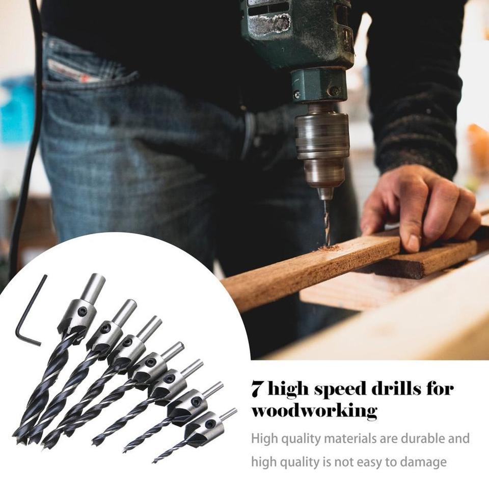 7 pcs Drill Bit Wood 5 Flute HSS Countersink Set 3 4 5 6 7 8 10mm Carpentry Tool
