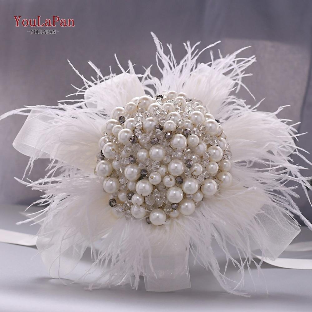 YouLaPan HF03 Handmade Ivory Pearl Feather Bridal Bouquet Wedding Bride's Rhinetone Jewelry Crystal Pearl Mini Bouquet