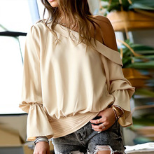 Women's blouse with one open shoulder flared long sleeve ruched tops solid blouses slim for women elegant new fasion summer 2021
