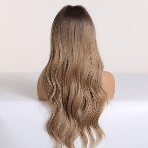 Image 3 - ALAN EATON Long Ombre 갈색 금발 여성용 가발 Bangs Water Wave 내열성 합성 가발 아프리카 계 미국인