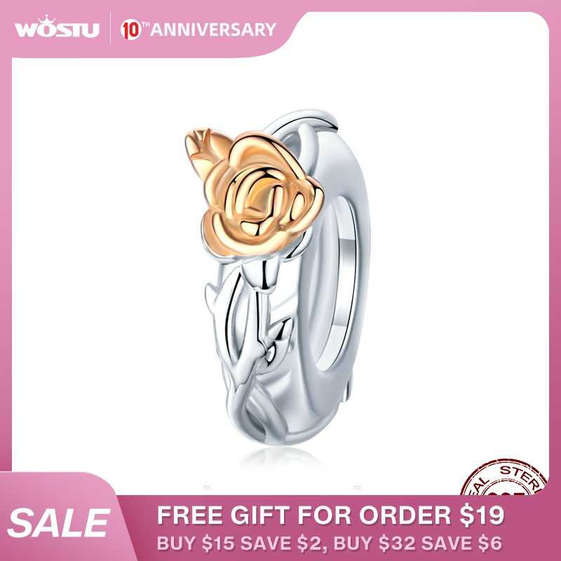 WOSTU Real 925 Sterling Silver Rose Flower Beads Rose Gold Charm Fit Original Bracelet Pendant DIY Necklace Jewelry CTC146