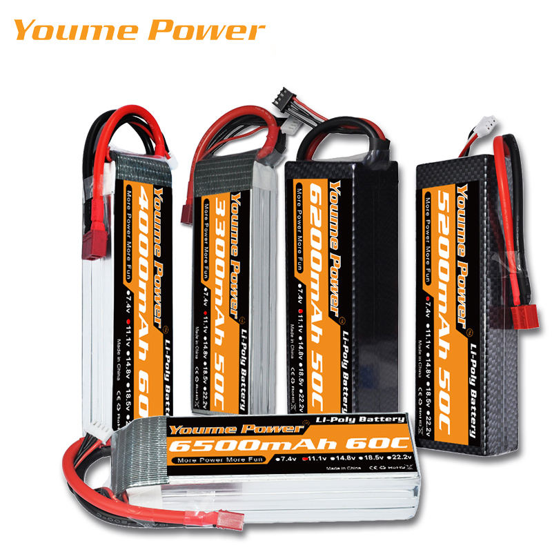 YOUME Lipo 2S 7.4V 3S 11.1V 4S 14.8V 6S 22.2V Battery 3300mAh 4000mAh 4500mAh 5200mAh 6200mAh 6500mAh 50C 60C T DEAN for Car(China)