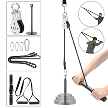 Home Gym Fitness DIY Pulley Cable Machine Attachment System Lifting Arm Hand Strength Training Leg Tendon Stretching Equipment