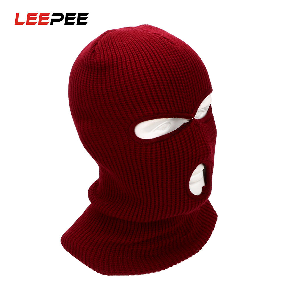 LEEPEE Motorcrcle Full Face Mask Winter Stretch Ski Balaclava Knit Hat Snow Windproof Warm Breathable Covers For Riding 3 Hole