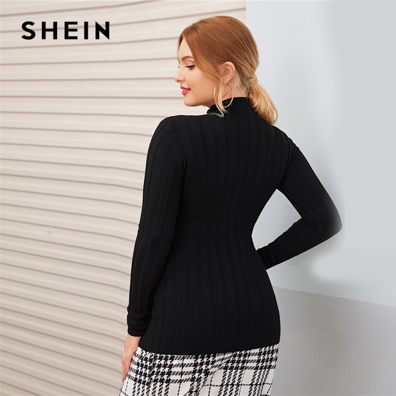 SHEIN Plus Size Black Funnel Neck Slim Solid Sweater Pullover Women Autumn Basic Fitted Solid Ladies Casual Jumper Sweaters 2