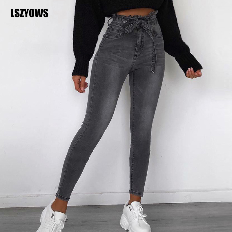 2019 Autumn Winter Women Jeans Ladies High Waist Sashes Pencil Denim Pants Vintage Ruffle Casual Skinny Jeans Trousers Plus Size