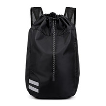 Simple Men Basketball Backpack Tide Large Capacity Nylon Waterproof Beam Mouth Bucket Sport Bag Foldable And Easy To Carry Black(China)