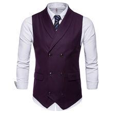 Новый стиль двубортный винтажный костюм жилеты для мужчин облегающий