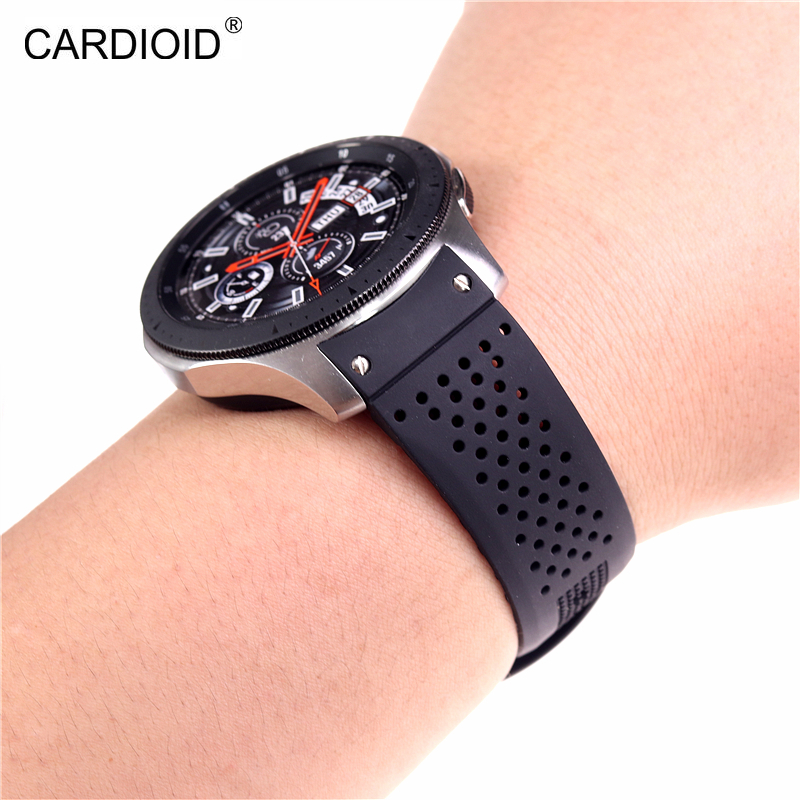 New style high end 22mm silicone strap bracelet bracelet for Samsung Gear S3 S4 Galaxy Watch 46mm watch strap watchbands-in Watchbands from Watches
