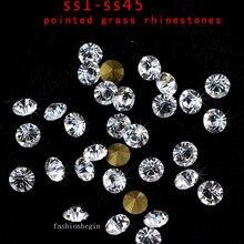Горячая распродажа! ss1-ss45 круглые заостренные граненные кристально чистые Стразы под бриллиант украшения для ногтей ювелирные изделия