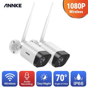 ANNKE-sistema de vigilancia con cámara de vídeo, 2/4 Uds. FHD 1080P IP Wi-Fi H.265, cámaras impermeables, visión nocturna de 100 pies con IR inteligente P2P