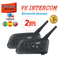 QPLOVE 2PCS VnetPhone V6 Bluetooth Helmet Intercom 1200M Wireless Talking Supports FM and Music Motorcycle helmet headset
