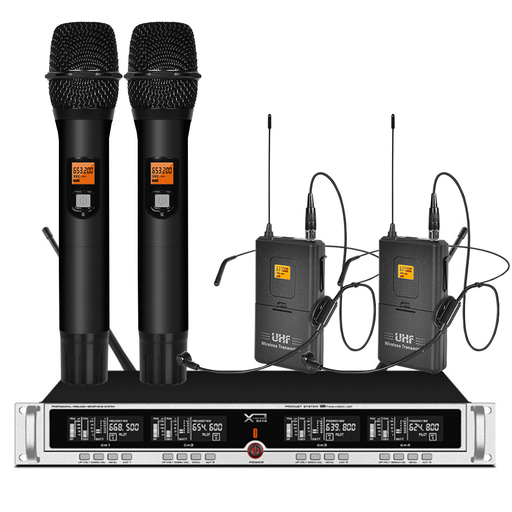Professional UHF Wireless Microphone 2 Headphones 2 Handheld Microphone For Stage Performance Outdoor Activity Microphone