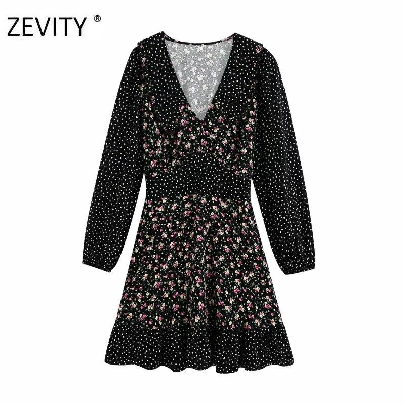 ZEVITY Women Vintage flower dots print patchwork hem ruffles mini Dress female elastic waist Vestidos Casual slim Dresses DS4264