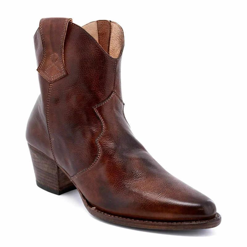 Nieuwe Western Cowgirl Laarzen Faux Lederen Cowboy Enkellaars voor Vrouwen Herfst Winter Wees Wig Hoge Hak Laarzen Print Rits