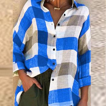 Women Plaid Print Blouse Shirts Autumn Casual Button Loose Sexy Long Sleeve Tops Lady Elegant Plus Size Blusa Streetwear S-5Xl