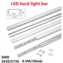Tira rígida de LED plana en forma de U, 12VDC, 50cm, 20 pulgadas, luz led para armario, 5630, 36 led/0,5 m, cubierta transparente/lechosa