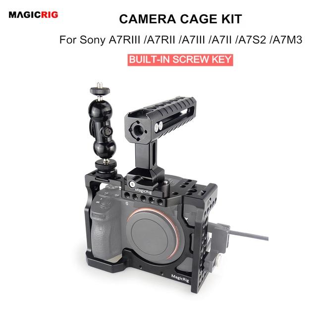 Magicrigdslr هيكل قفصي الشكل للكاميرا مع مقبض الناتو ورأس الكرة لسوني A7II /A7III /A7SII /A7M3 /A7RII /A7RIII طقم وصلة الرموش للكاميرا
