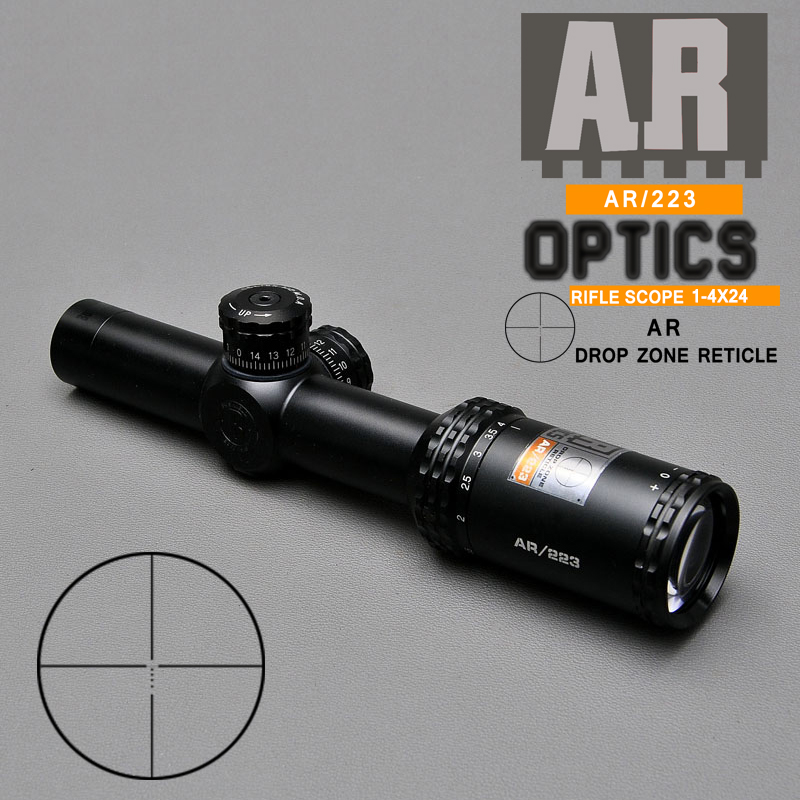 1-4X24 AR 223 Fast Focus Short Riflescope Optics Drop Zone-223 For Outside Sniper