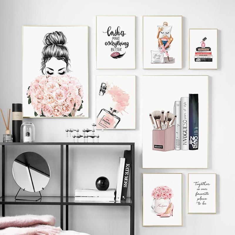 Moda mulher perfume poster e impressão flor livros arte da parede pintura em tela moderno vogue fotos para sala de estar decoração casa