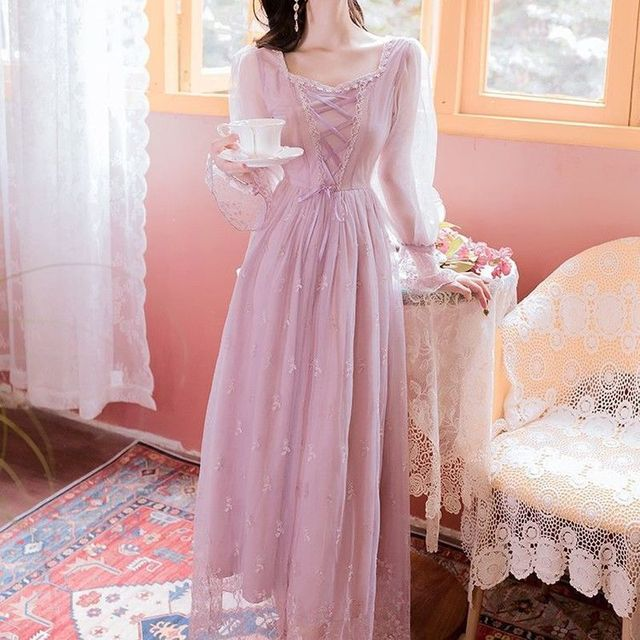 Pink_Elegant_Dress_Women_Autumn_Sweet_Floral_Midi_Dress_Female_Casual_Lace_Chiffon_Bandage_Fairy_Dre 3