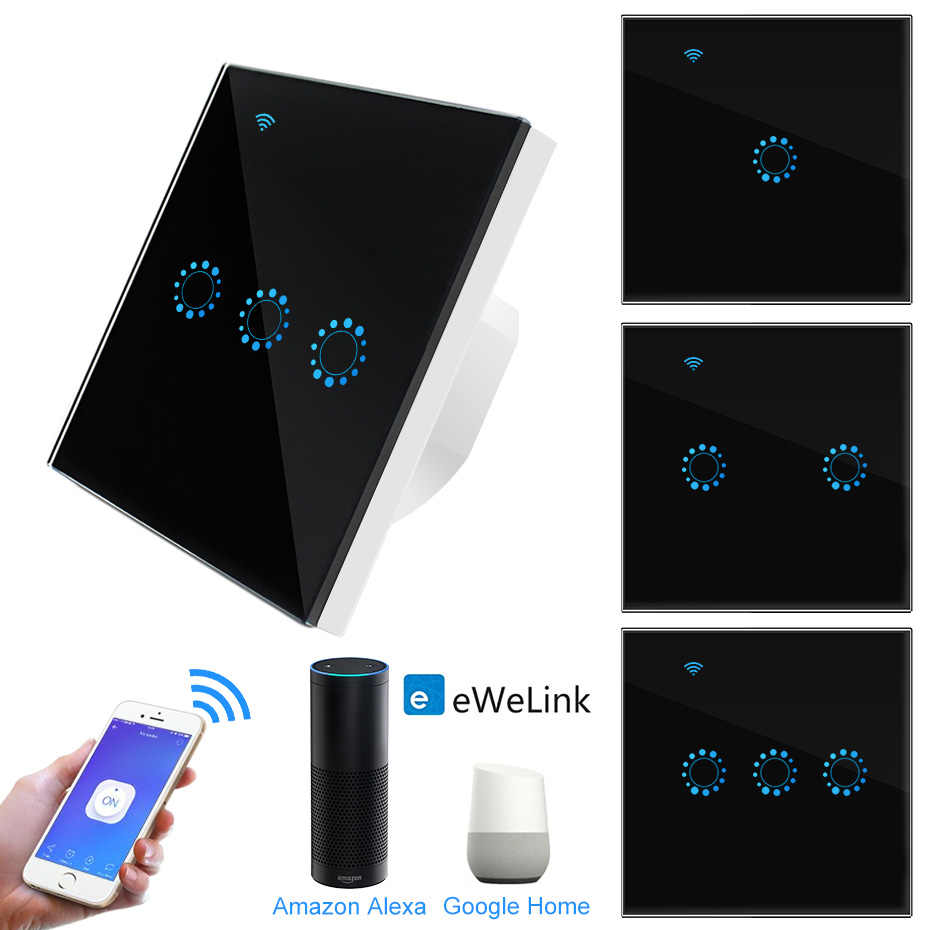 Touch Switch EU Wifi Smart Touch Switch 1/2/3 Gang Wireless Remote Light Switch ewelink App Control Work with Alexa Google Home