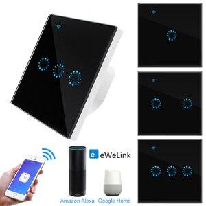 Image 1 - Touch Schalter EU Wifi Smart Touch Schalter 1/2/3 Gang Drahtlose Fernbedienung Licht Schalter ewelink App Steuer Arbeit mit Alexa Google hause