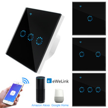 Touch Switch EU Wifi Smart Touch Switch 1 2 3 Gang Wireless Remote Light Switch ewelink App Control Work with Alexa Google Home cheap Touch Sensor Wifi Control App Control RoHS Switches 1year EU standard Wifi Touch Switch Touch On Off Switch ABS + Tempered Glass