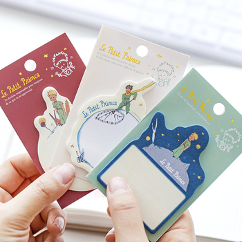 3pcs Le petit Prince adhesive memo pad Mini color sticky notes Starry star Farm bookmark planner stickers Office School F625 star shaped sticky notes