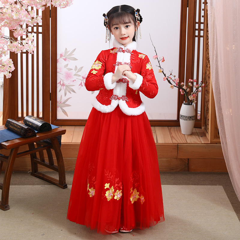 Winter Girls Birthday Party Dress Think Flower Girl Wedding Gown Formal Kids Dresses Girls Chinese Hanfu New Year's Dress