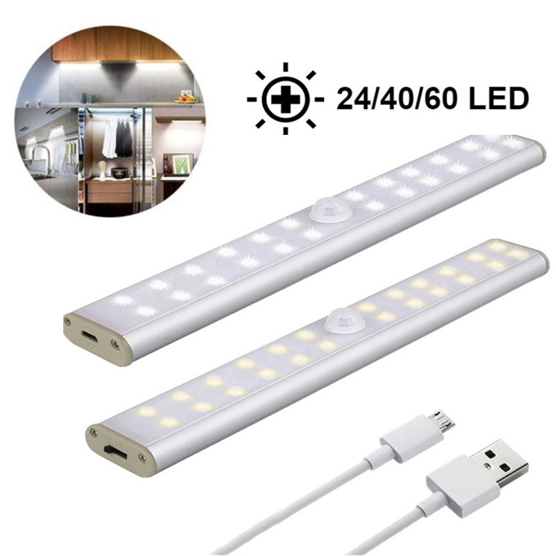24/40/60 Led Lights Bed Lamp LPIR Motion Sensor USB Charge LED Under Cabinet Night Ligh For Closet Stairs Kitchen Lamparas