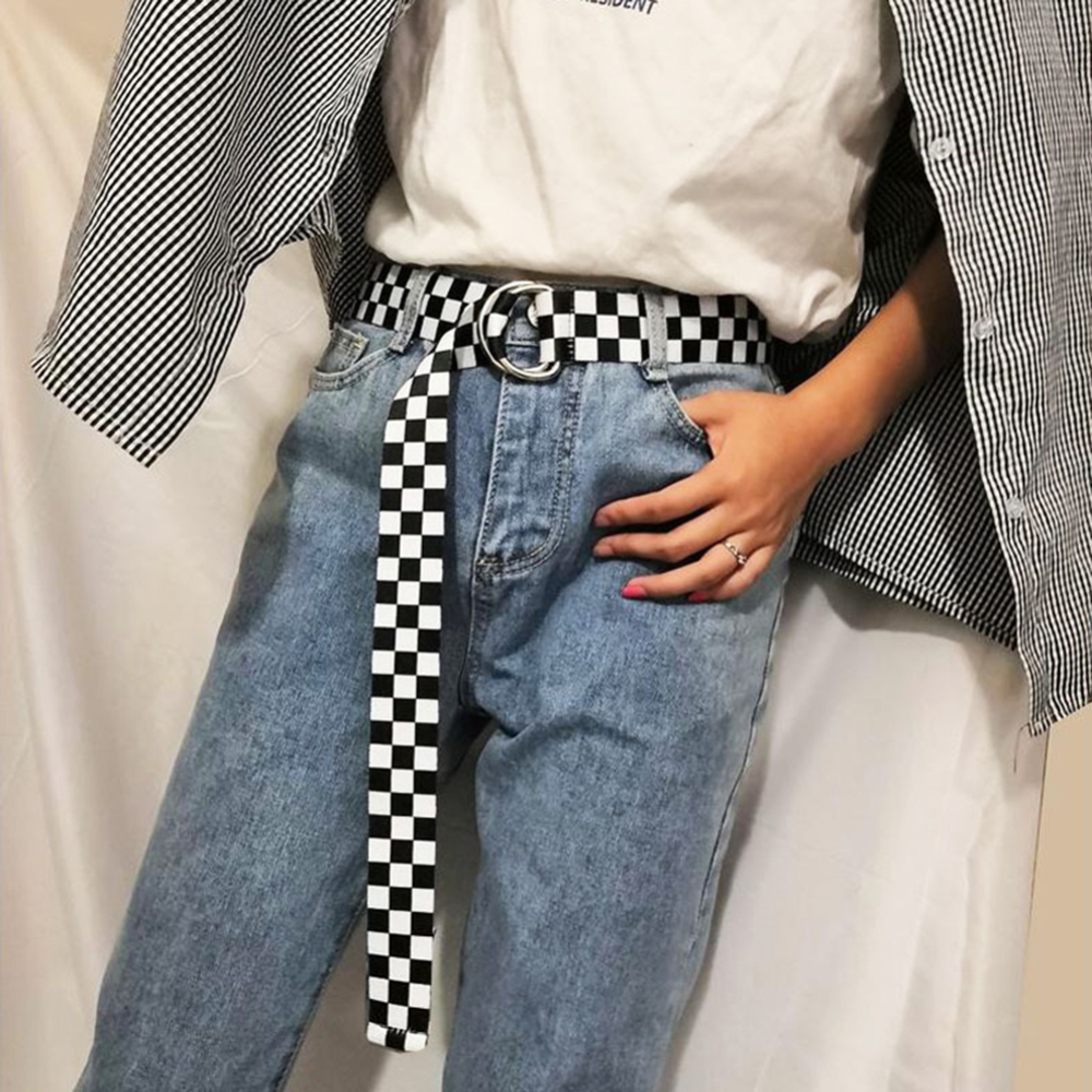 Fashion Punk Checkered Belt Waistband Long Black And White Plaid Checkerboard Couple Checkered Canvas Women New Belts