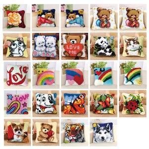 Prajna Handmade Pillow Cushion Latch Hook Kit Mat DIY Embroidery Needlework Crochet Pillows Kits Unfinished Accessories 37x37cm(China)