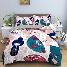 Japanese Doll Fan Printing Duvet Cover Muiltcolor Bedding Set Lucky Cat Queen King Size With Pillowcase Quilt Covers Home Decor