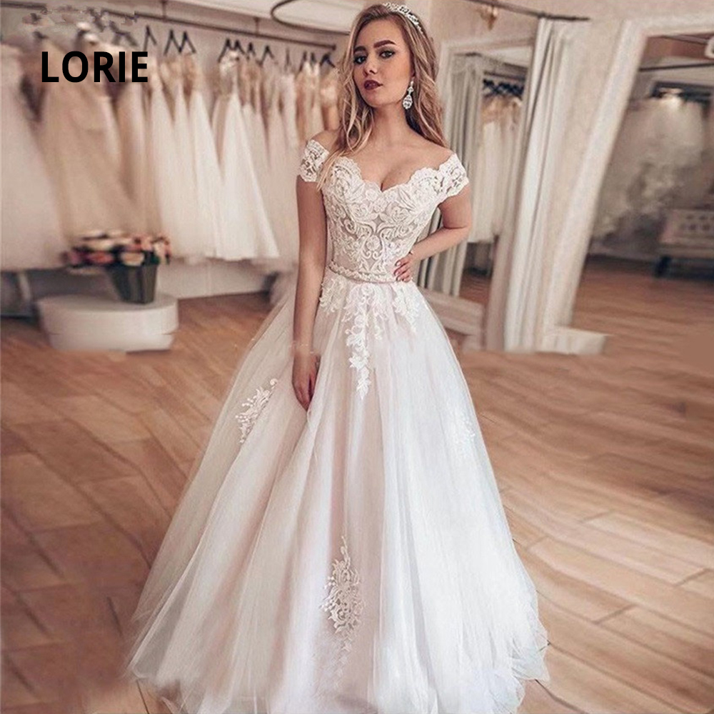 LORIE Off Shoulder Ball Gown Wedding Dresses Turkey Elegant Lace Appliqued Soft Tulle Bridal Gowns Sweetheart Princess Mariage